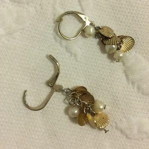 Lauren Conrad seashell and pearl dangle earrings